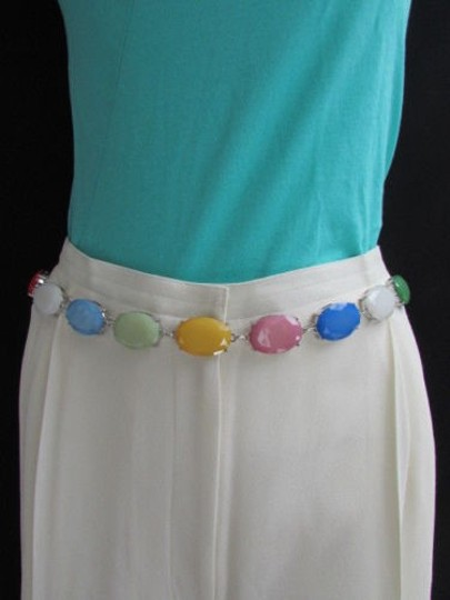 Other Women Hip High Waist Silver Metal Chains Fashion Belt Multi Color Beads