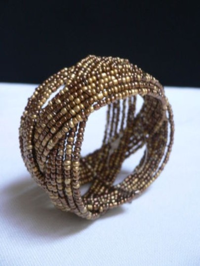 Alwaystyle4you Women Brown Gold Bronze Beads Metal Cuff Wide Disco Bracelet Image 1