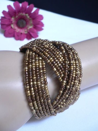 Alwaystyle4you Women Brown Gold Bronze Beads Metal Cuff Wide Disco Bracelet Image 10