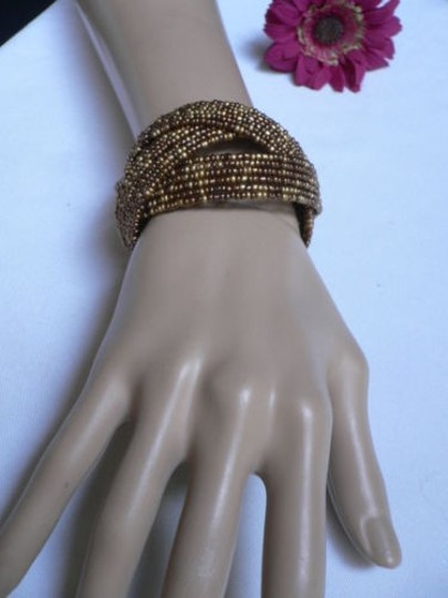 Alwaystyle4you Women Brown Gold Bronze Beads Metal Cuff Wide Disco Bracelet Image 11