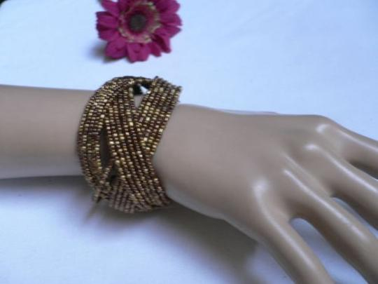 Alwaystyle4you Women Brown Gold Bronze Beads Metal Cuff Wide Disco Bracelet Image 2