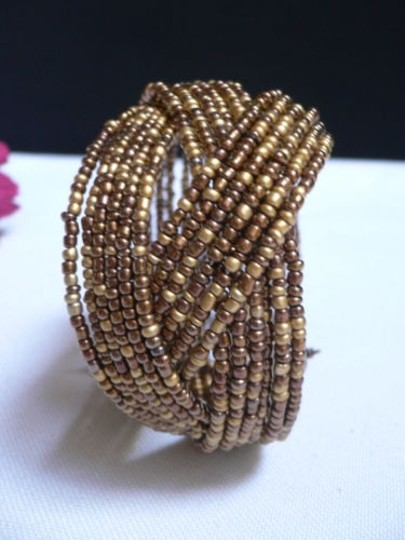 Alwaystyle4you Women Brown Gold Bronze Beads Metal Cuff Wide Disco Bracelet Image 3