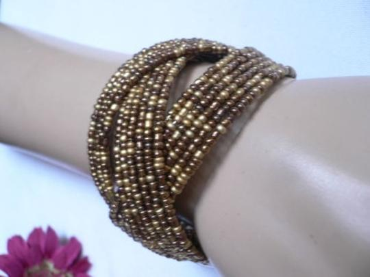 Alwaystyle4you Women Brown Gold Bronze Beads Metal Cuff Wide Disco Bracelet Image 4