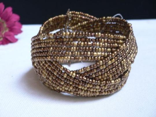 Alwaystyle4you Women Brown Gold Bronze Beads Metal Cuff Wide Disco Bracelet Image 5