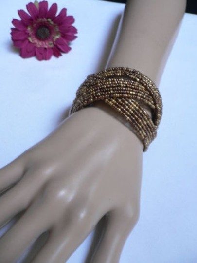 Alwaystyle4you Women Brown Gold Bronze Beads Metal Cuff Wide Disco Bracelet Image 6