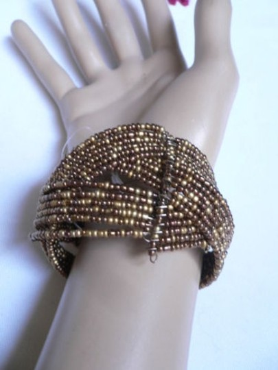 Alwaystyle4you Women Brown Gold Bronze Beads Metal Cuff Wide Disco Bracelet Image 7