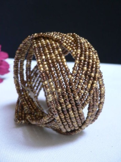Alwaystyle4you Women Brown Gold Bronze Beads Metal Cuff Wide Disco Bracelet Image 8