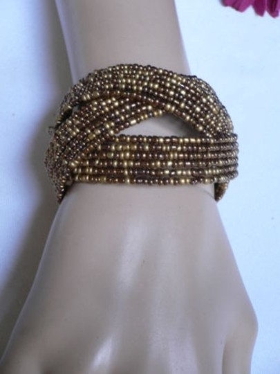 Alwaystyle4you Women Brown Gold Bronze Beads Metal Cuff Wide Disco Bracelet Image 9