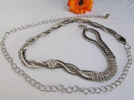 Other Women Hip Waist Silver Loop Braided Metal 2flower Chains Thin Belt 27-46 S-xxl