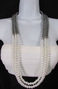 Women Strands Fashion Necklace Cream Imitation Pearl Pewter Beads 32 Long