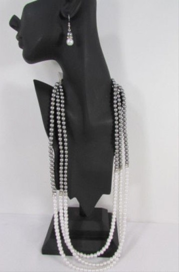 Other Women Strands Fashion Necklace Cream Imitation Pearl Pewter Beads 32 Long