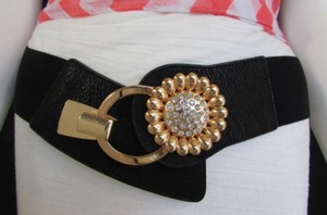 Other Women Black Elastic Fashion Belt Gold Metal Sun Flower Hip Waist 26-33