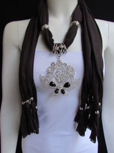 Women Soft Brown Fabric Fashion Scarf Necklace Silver Flowers Butterfly Pendant