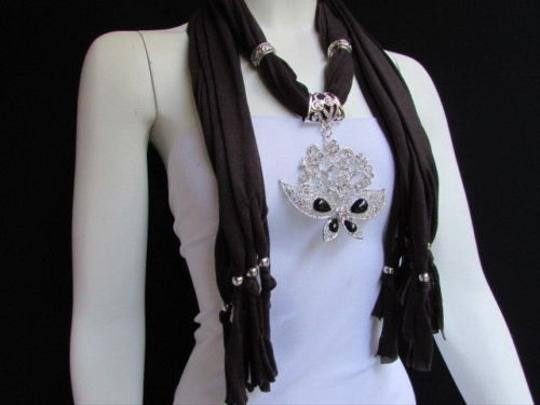 Other Women Soft Brown Fabric Fashion Scarf Necklace Silver Flowers Butterfly Pendant