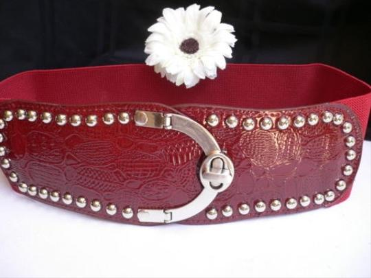Other Women Wide Red Faux Leather Belt Crocodile Stamp Metal Buckle 25-35 Xs-l