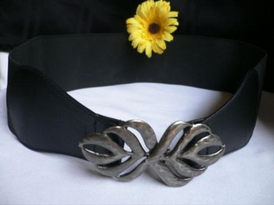 Other Women Summer Black Fashion Elastic Wide Belt Pewter Leaf Buckle 29-35 Sm