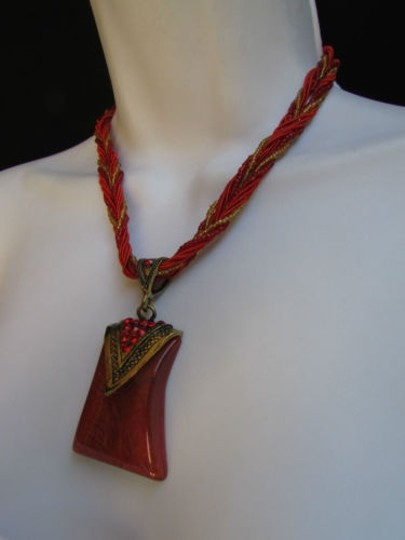 Alwaystyle4you Women Strands Necklace Big Red Glass Pendant Rhinestones Drop Image 2