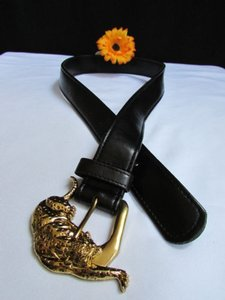 Alwaystyle4you Women Faux Leather Black Belt Gold Tiger Panther Buckle