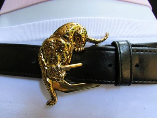 Other Women Faux Leather Black Fashion Belt Gold Tiger Panther Buckle 28-32 Ml