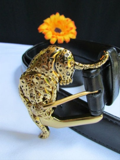 Alwaystyle4you Women Faux Leather Black Belt Gold Tiger Panther Buckle Image 2