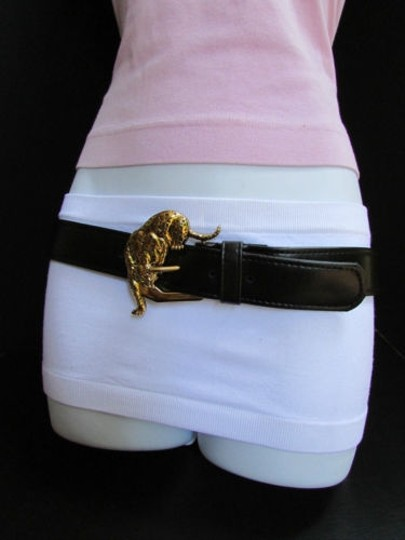Alwaystyle4you Women Faux Leather Black Belt Gold Tiger Panther Buckle Image 8