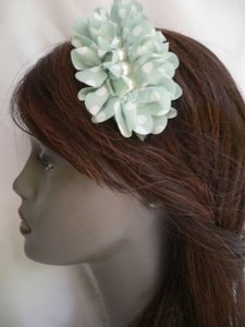 Other Women Headband Soft Light Blue White Polka Dots Thin Adjustable