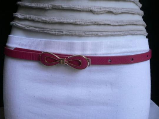 Other Women Summer Gold Bow Thin D Pink Faux Leather Fashion Belt Ml 32-37