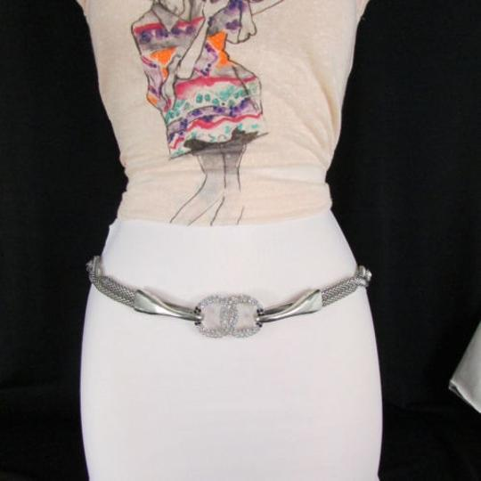 Other Women Silver Mesh Braided Metal Rhinestones Fashion Belt Hip Waist 34-36