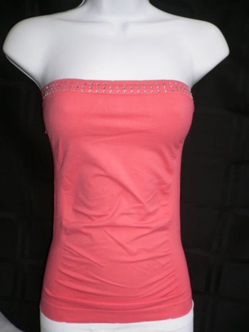 Other Women Coral Camisole Strapless Plastic Studs Stones One All Top Orange