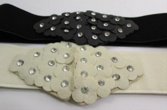 Other Women Black Cream Hip Waist Elastic Fashion Belt Mini Flowers 26-33
