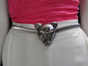 Other Women Hip Waist Silver Elastic Metal Big Tiger Head Fashion Belt 25-40 Xs-xl