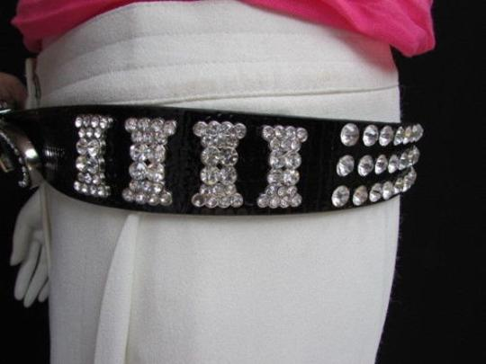 Other Women Black Faux Leather Western Bows Belt Silver Rhinestones Buckle 30-36