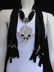 Alwaystyle4you Women Black Soft Fabric Scarf Necklace Silver Flowers Butterfly