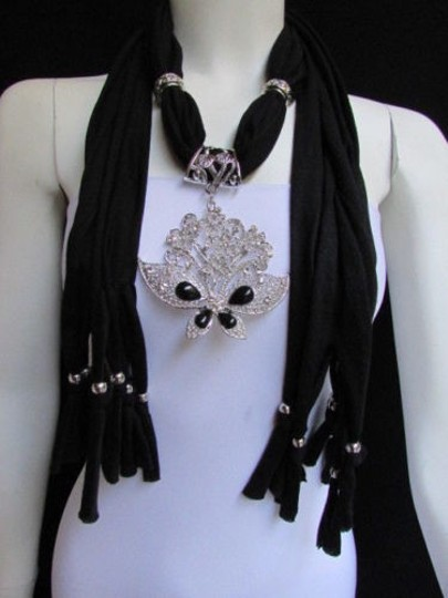 Preload https://item2.tradesy.com/images/women-black-soft-fabric-fashion-scarf-necklace-silver-flowers-butterfly-pendant-4291186-0-0.jpg?width=440&height=440