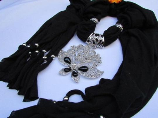 Alwaystyle4you Women Black Soft Fabric Scarf Necklace Silver Flowers Butterfly Image 1