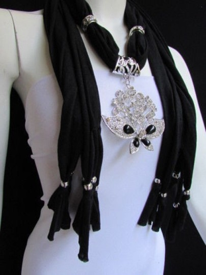 Alwaystyle4you Women Black Soft Fabric Scarf Necklace Silver Flowers Butterfly Image 11