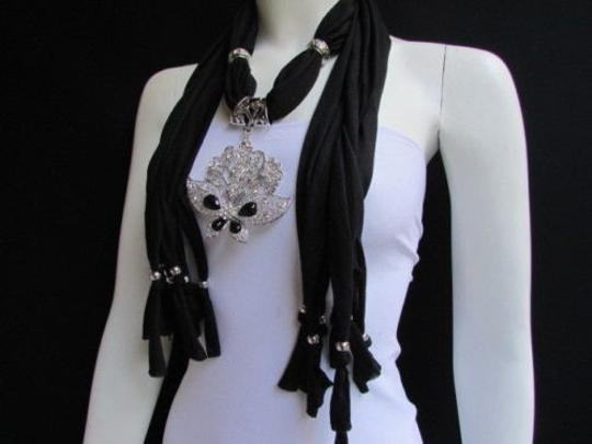 Alwaystyle4you Women Black Soft Fabric Scarf Necklace Silver Flowers Butterfly Image 2