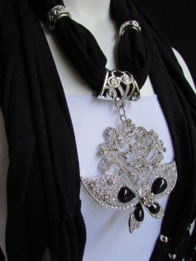 Alwaystyle4you Women Black Soft Fabric Scarf Necklace Silver Flowers Butterfly Image 3