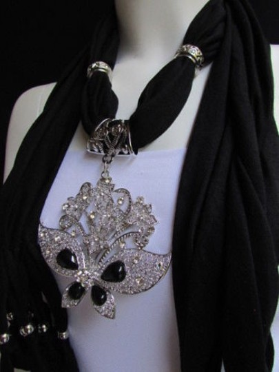 Alwaystyle4you Women Black Soft Fabric Scarf Necklace Silver Flowers Butterfly Image 5
