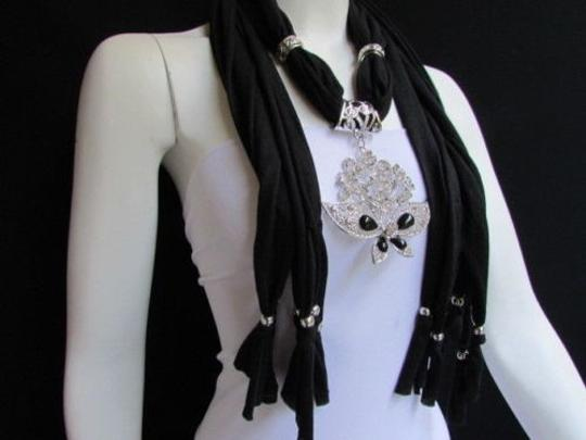 Alwaystyle4you Women Black Soft Fabric Scarf Necklace Silver Flowers Butterfly Image 6