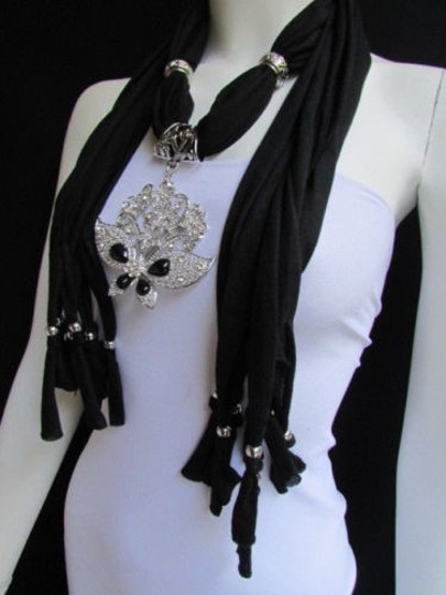 Alwaystyle4you Women Black Soft Fabric Scarf Necklace Silver Flowers Butterfly Image 7