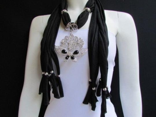 Alwaystyle4you Women Black Soft Fabric Scarf Necklace Silver Flowers Butterfly Image 9