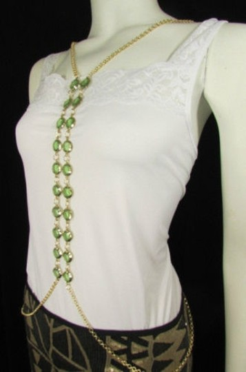 Other Women Gold Long Body Chain Front Row Green Beads Fashion Jewelry Beads