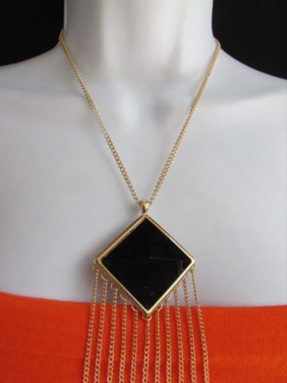 Other Wester Women Gold Metal Fashion Necklace Long Chains Black Square Bead Pendant