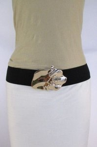 Women Black Beige Brown Elastic Fashion Belt Gold Metal Buckle 28-35