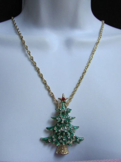 Other Women Gold Fashion Necklace Big Christmas Tree Pendant Rhinestones 13 Drop
