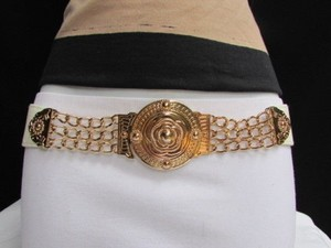 Other Women Waist Hip White Stretch Fashion Belt Gold Moroccan Buckle 27-33