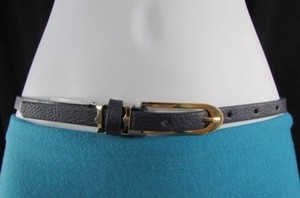 Women Faux Leather Blue Hip Waist Thin Fashion Belt Gold Buckle 28-35