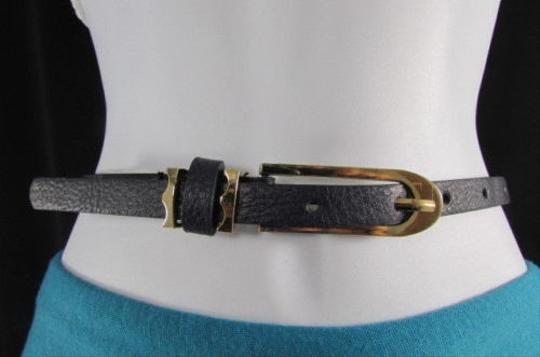 Other Women Faux Leather Blue Hip Waist Thin Fashion Belt Gold Buckle 28-35