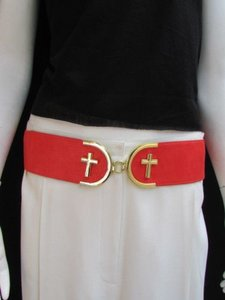 Women High Waist Hip Coral Elastic Fashion Belt Gold Cross Buckle 27-36